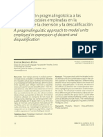 Aproximación Pragmalingüística a Las Unidades Modales Empleadas en La Expresión de La Disensión Y La Descalificació