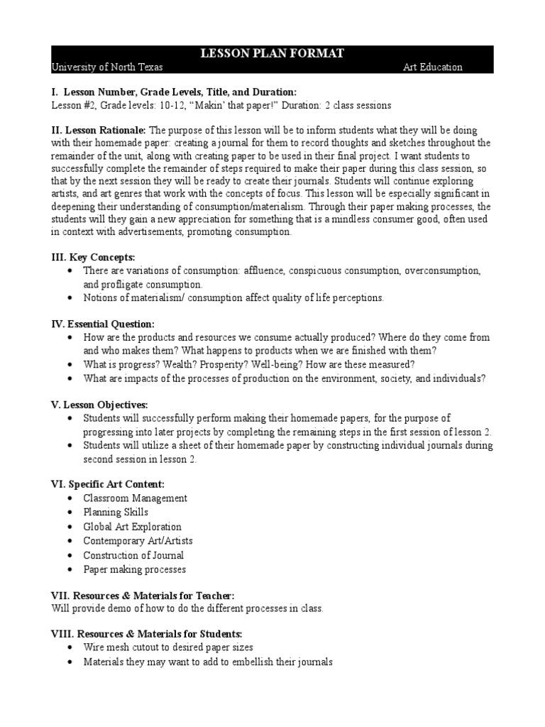 Hs 2 Lesson Plan Paper Classroom Management