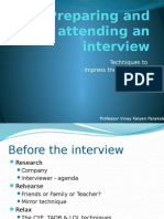 Preparing and Attending an Interview