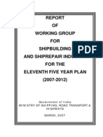 Report of Working Group for Shipbuilding And