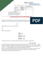 guia 5a racionalizacion  2015 algebra 9