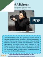 A R Rahman - Famous Musicians For Kids
