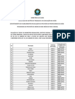 Lista Municipios Perfis Mais Médicos