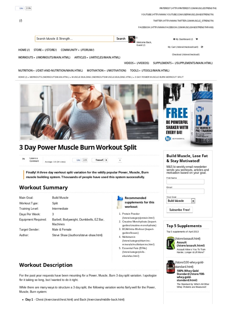 3 day power muscle burn workout split muscle strength hobbies