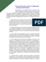 LAS ACADEMIAS NACIONALES ANTE LA CRISIS DEL SISTEMA ELÉCTRICO
