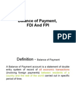 balance of payment for FDI FII
