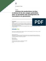 Analyse de Productions Ecrites d Eleves Et de Ses Usages Potentiels Pour La Formation Des Enseignants Du Secondaire en Grammaire