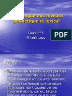 C5 Interlangue Et Niveaux Phonetique Et Lexical