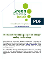 Biomass briquetting as green energy saving technology