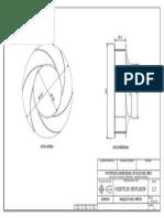 Plano frontal y lateral de un ventilador