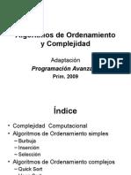 Algoritmos de Ordenamiento y Complejidad PAvanz09 Sesion_1