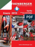 Tarifa Rothenberger 2015 Disponible en Saneamador.es