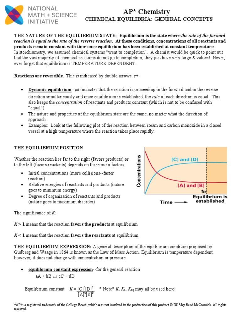 general equilibrium notes | Chemical Equilibrium | Chemical