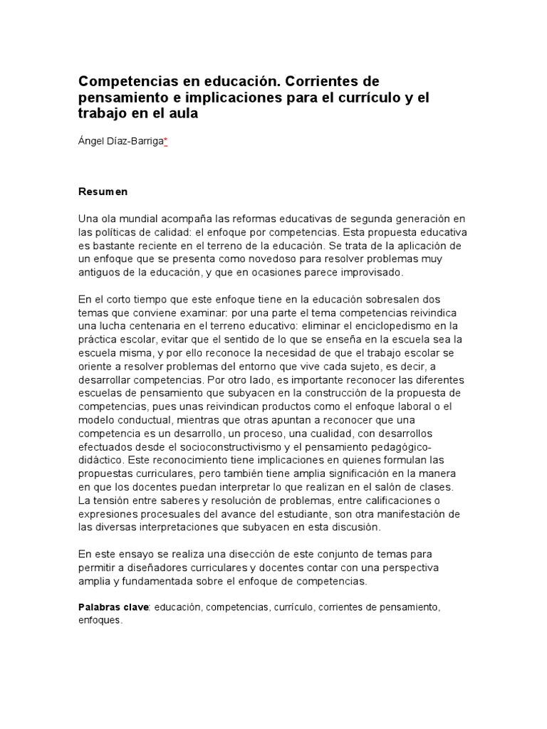 Competencias en Educación Díaz Brriga