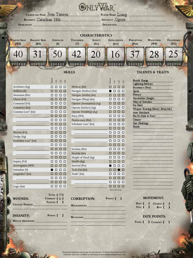 Only War Character Sheet Editable 100 Tabletop Games Role