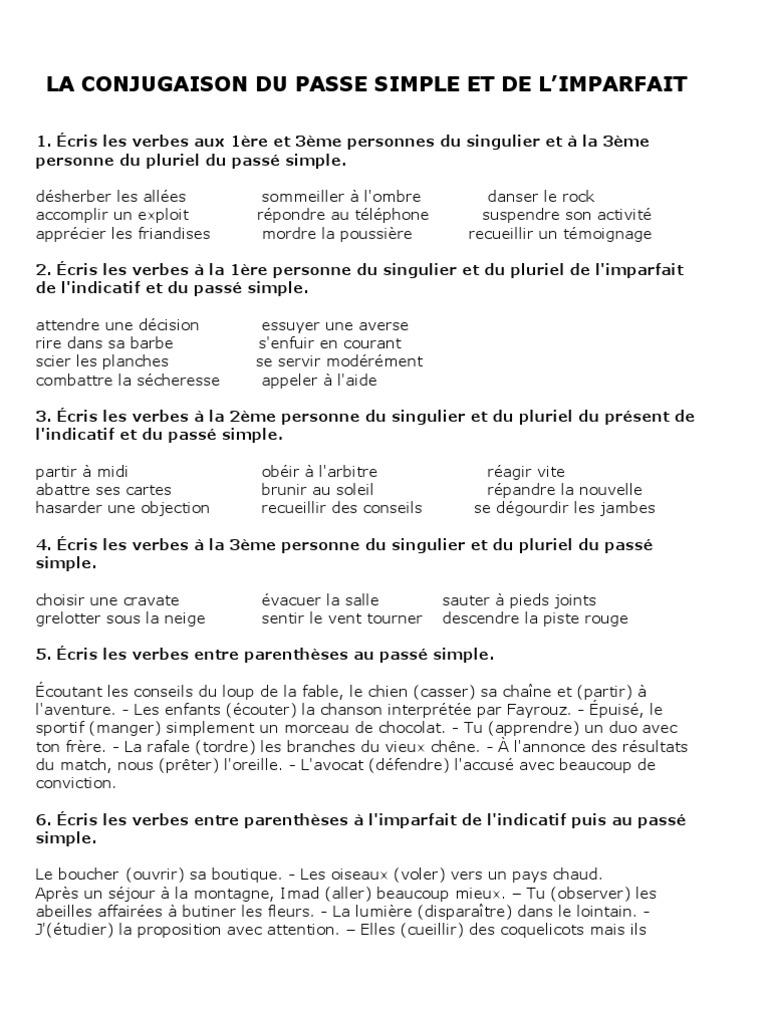 6 Conjugaison Imparfait Passe Simple Verbe