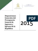 Disposiciones Generales Presupuesto 2015