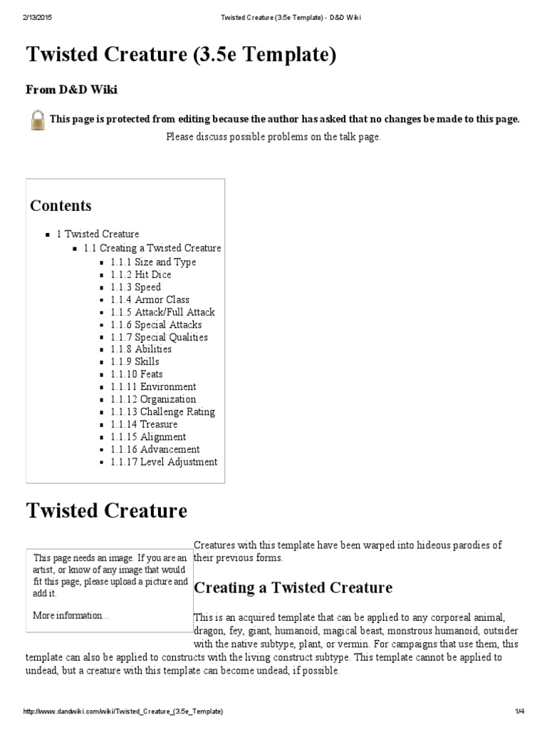 Twisted Creature (3 5 | Role Playing Games | Dungeons & Dragons