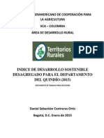 INDICE DE DESARROLLO SOSTENIBLE QUINDIO (2015)