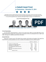 Mario Gabelli's Asset Fund Q4 2014 Commentary