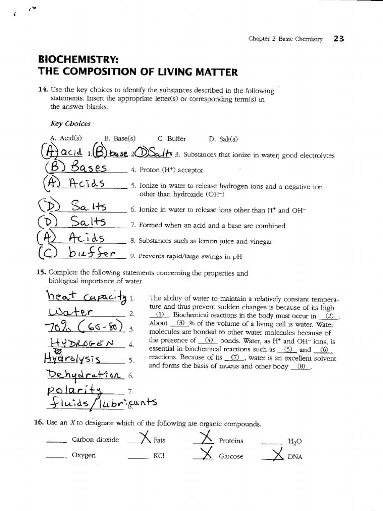 answer key wb chpt 2 14-17 | Properties Of Water | Chemistry