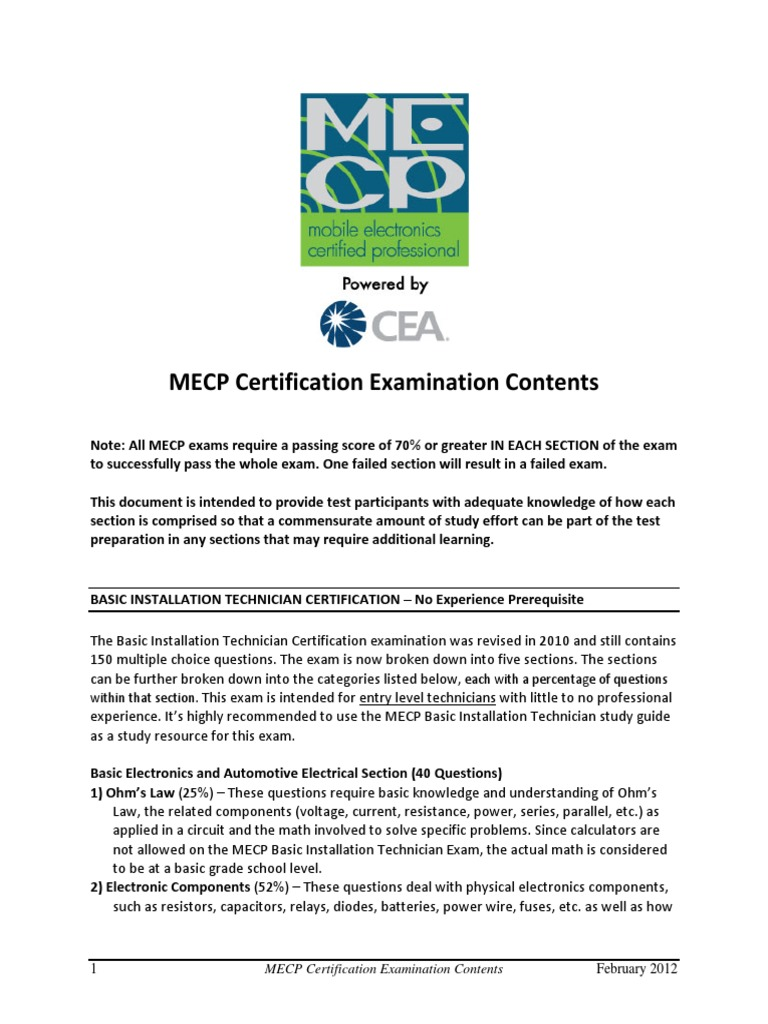 Mecp Exam Contents 2012 Test Assessment Electronics