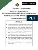 Jadual Peperiksaan P2 STPM 2015