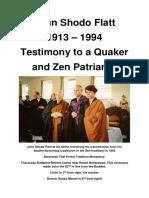 John Shodo Flatt - 1913 - 1994 - Testimony to a Quaker and Zen Patriarch