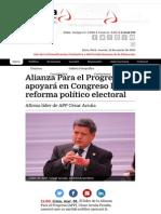 01-03-2015 ALIANZA PARA EL PROGRESO APOYARÁ EN CONGRESO LA REFORMA POLÍTICO ELECTORAL