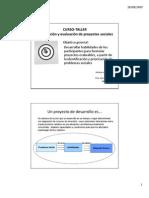 CURSO-TALLER Formulación y Evaluación de Proyectos Sociales
