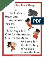 Baa Baa Black Sheep Printable Nursery Rhymes
