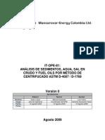 Análisis de Sedimientos,Agua, Sal y Fuel Oil en Crudo Por Metodo Centrifucado ASTM D4007 D1769