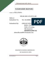 Internship Report on Shakarganj Sugar Mill by SYED AHMAD MUSTAFA