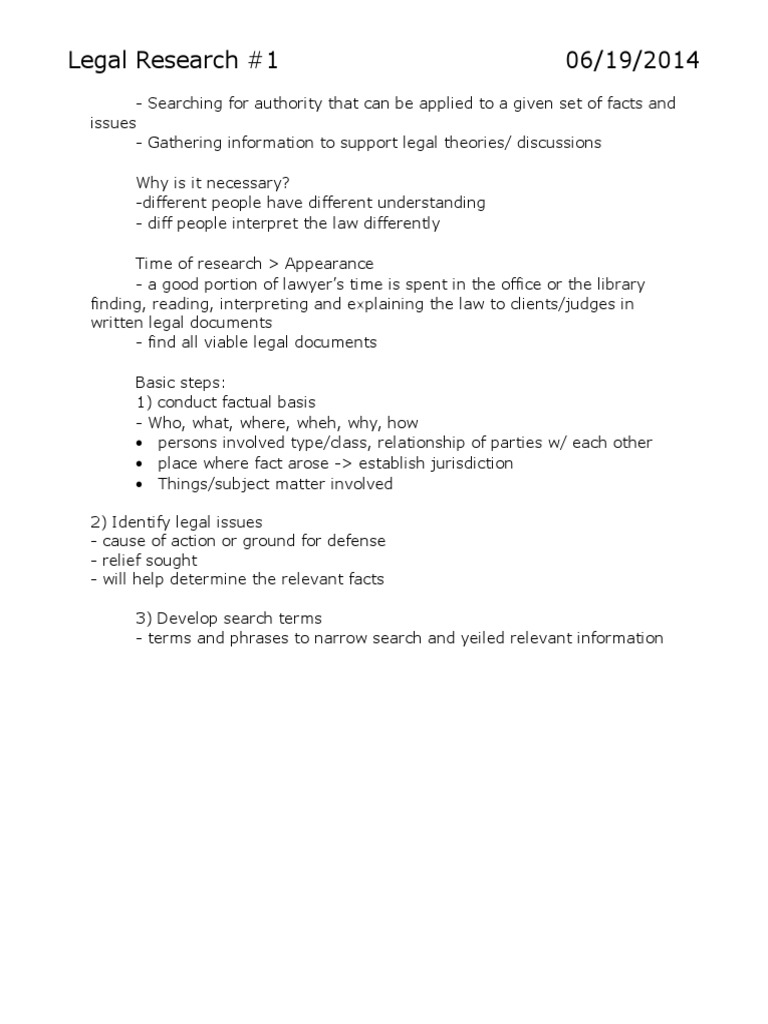 Legal Research Notes Precedent Case Law - Help with legal documents