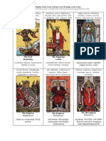 Tarot Cards Regular Sized Cards and Meanings on Cards Handout