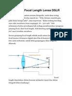 Memahami Focal Length Lensa DSLR