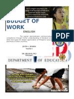 Budget of Work (English)
