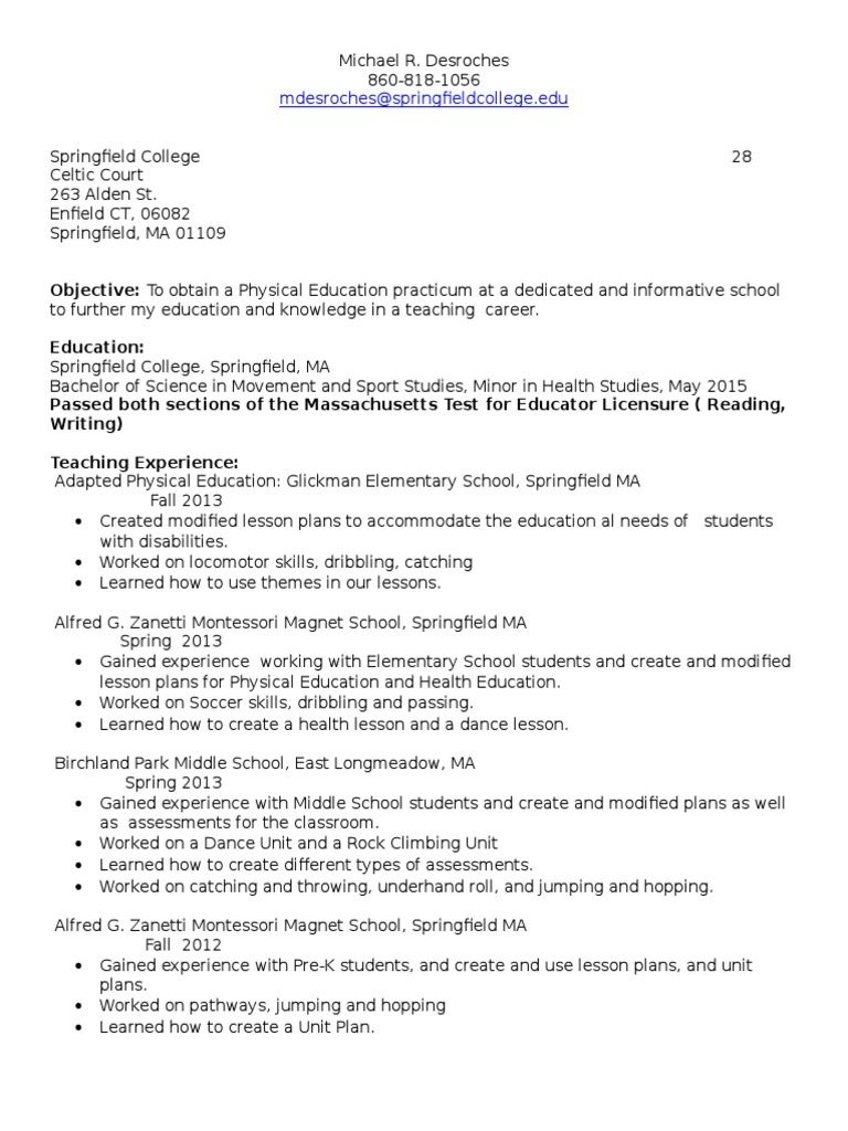 Resume | Physical Education | Lesson Plan
