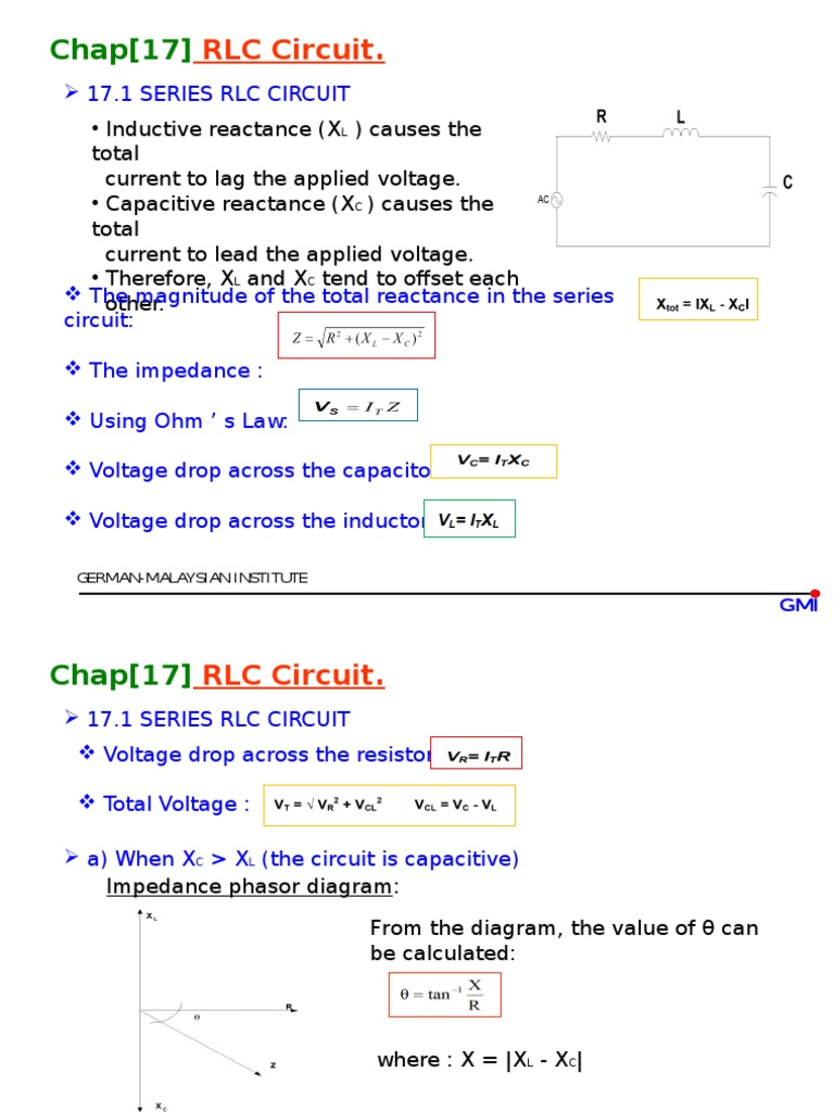 Rlc Circuit Electrical Impedance Series And Parallel Circuits Voltage Drop In A