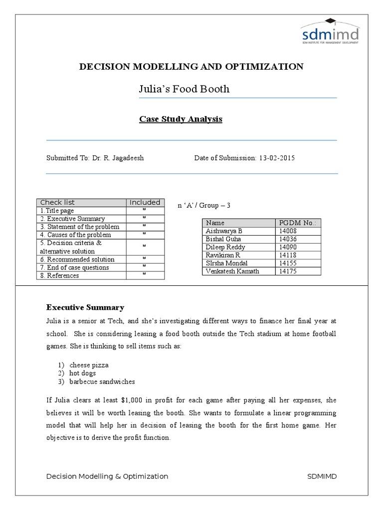 Julia's Food Booth | Mathematical Optimization | Profit