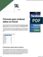 Fórmula Para Ordenar Datos en Excel - Excel Total