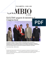 09-03-2015 Diario Matutino Cambio - Envía RMV Paquete de Iniciativas Al Congreso Local