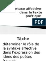 La Syntaxe Affective Dans Le Texte Poetique