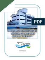 Reglamento de prestación del servicio de agua de Tumbes