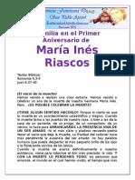 Homilía en El Primer Aniversario de María Ines Riascos