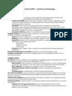 Terminology Balance Sheet