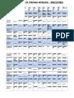 Calendário de Provas Mensais Mat- 1º Bimestre