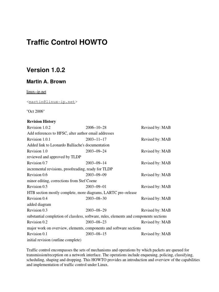 traffic-control-howto | Scheduling (Computing) | Computer Network