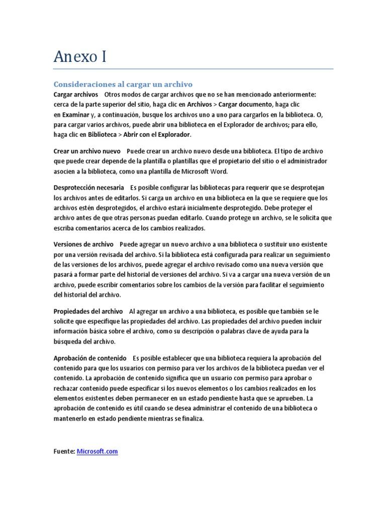 Anexo I - Consideraciones Al Cargar Un Archivo