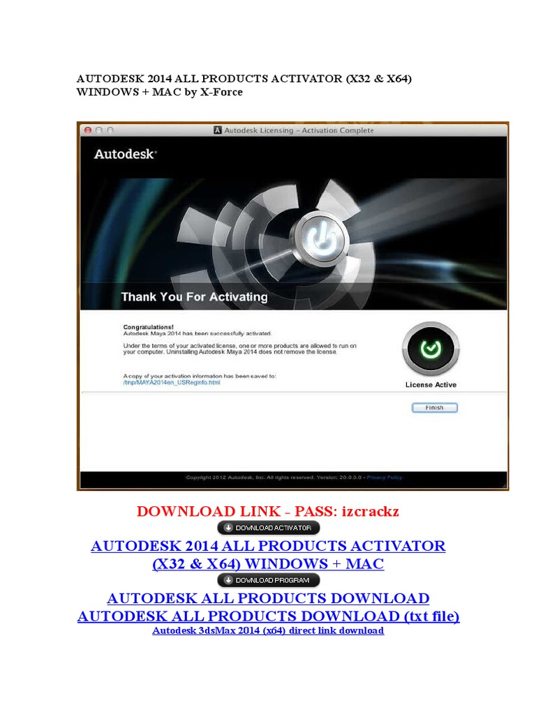 Autodesk 2014 All Products Activator | Autodesk | Auto Cad